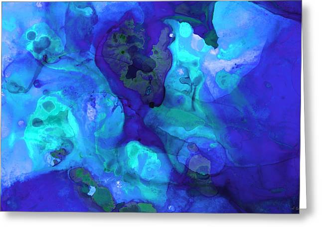 Blue And Purple Sea Greeting Cards - Violet Blue - Abstract Art By Sharon Cummings Greeting Card by Sharon Cummings