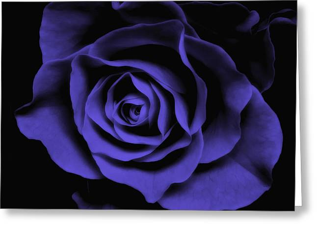 Blue Flowers Digital Art Greeting Cards - Abstract Blue Roses Flowers Art Work Photography Greeting Card by Artecco Fine Art Photography