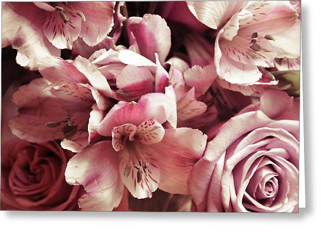 Rose Petals Greeting Cards - Violet Bouquet Greeting Card by JAMART Photography