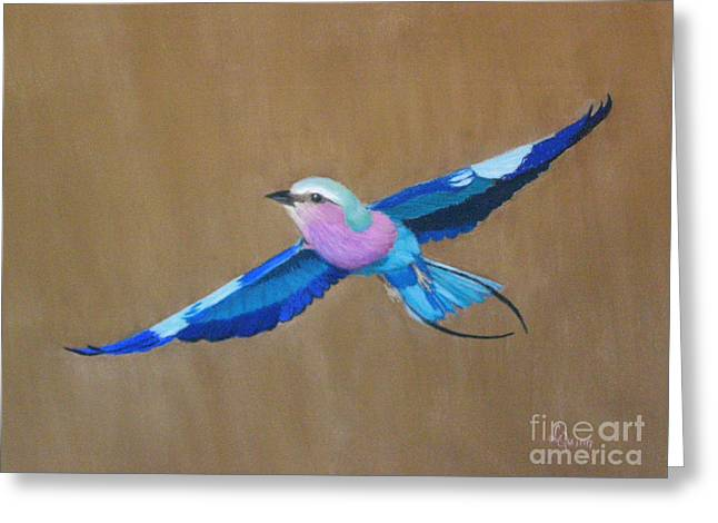 Violet Blue Pastels Greeting Cards - Violet-breasted Roller Bird II Greeting Card by Lynn Quinn