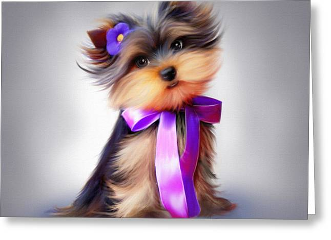Puppies Mixed Media Greeting Cards - Violet  Greeting Card by Catia Cho