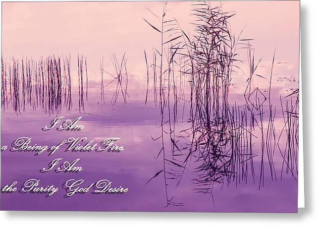 Living Beings Greeting Cards - Violet Fire Mantra Words Greeting Card by Jenny Rainbow