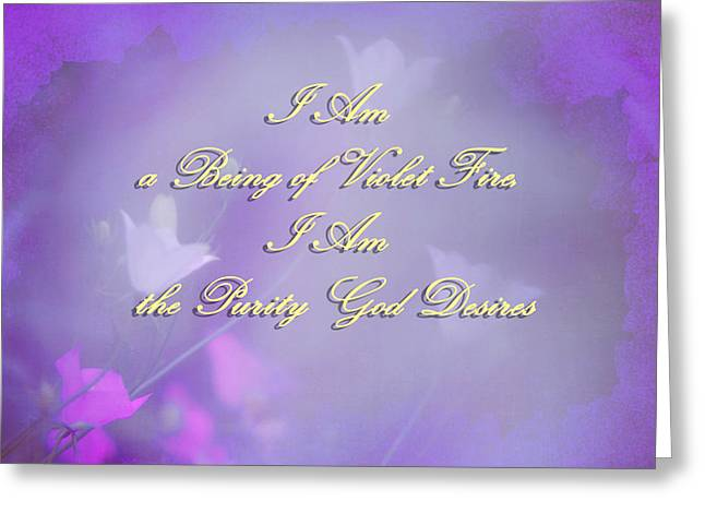 Living Beings Greeting Cards - Violet Flame Mantra Greeting Card by Jenny Rainbow