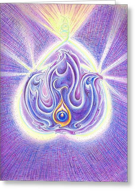 Observer Drawings Greeting Cards - Violet Flame Greeting Card by Melinda DeMent
