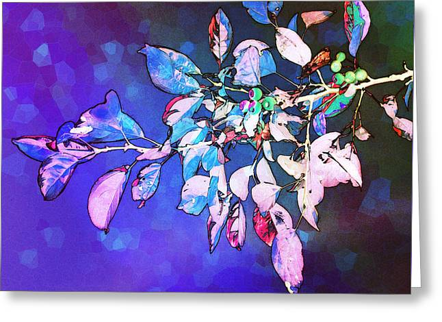 Inverted Color Greeting Cards - Violet Illumination Greeting Card by Shawna  Rowe