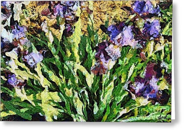 Van Gogh Style Greeting Cards - Violet irises Greeting Card by Dragica  Micki Fortuna