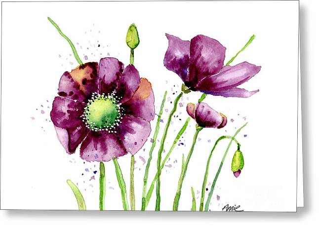 Ann Paintings Greeting Cards - Violet Poppies Greeting Card by Annie Troe