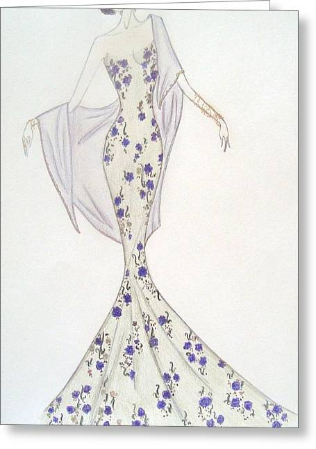 Moss Pastels Greeting Cards - Violet Trellis Gown Greeting Card by Christine Corretti