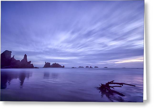 Colorful Sunset Greeting Cards Greeting Cards - Violet Vista Greeting Card by Jon Glaser