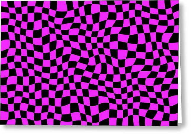 Brick Patio Greeting Cards - Violet Warped Polygons Greeting Card by Daniel Hagerman