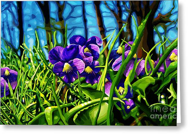 Sunlight On Flowers Digital Greeting Cards - Violet Window Greeting Card by Jackie Case