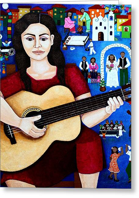 Madalena Lobao-tello Greeting Cards - Violeta Parra and the song Black wedding Greeting Card by Madalena Lobao-Tello