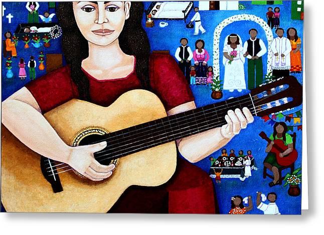 Violeta Parra And The Song Black Wedding Greeting Card by Madalena Lobao-Tello