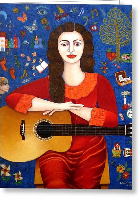 Madalena Lobao-tello Greeting Cards - Violeta Parra and the song Thanks to Life Greeting Card by Madalena Lobao-Tello
