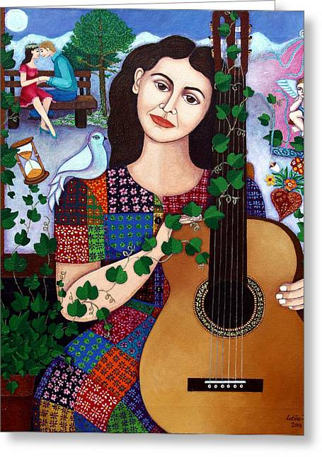 Madalena Lobao-tello Greeting Cards - Violeta Parra Back at seventeen   Greeting Card by Madalena Lobao-Tello
