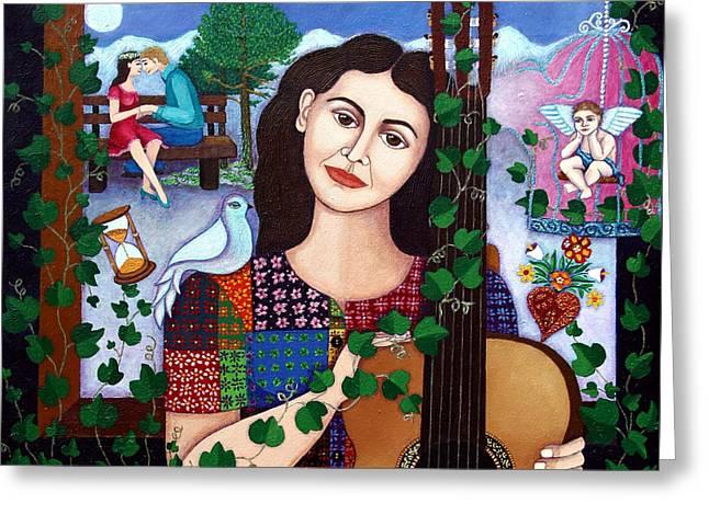 Violeta Parra Back At Seventeen   Greeting Card by Madalena Lobao-Tello