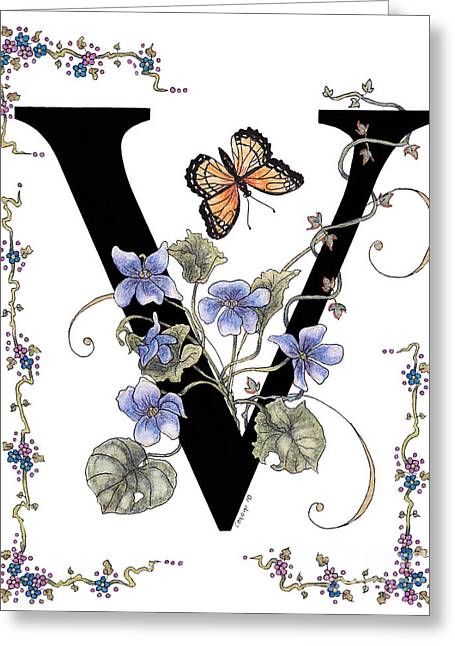 Stanza Widen Greeting Cards - Violets and a Viceroy Butterfly Greeting Card by Stanza Widen