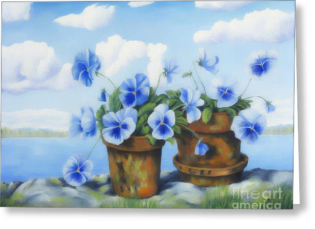 Harmonious Greeting Cards - Violets on the beach Greeting Card by Veikko Suikkanen
