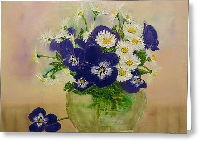 Svetla Dimitrova Greeting Cards - Violets Greeting Card by Svetla Dimitrova