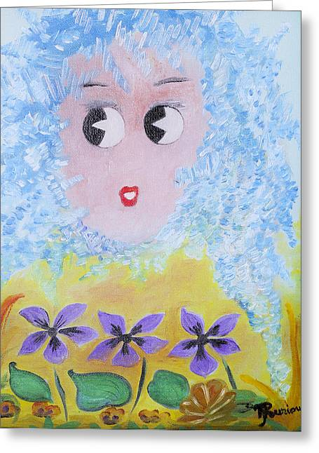 Figuratif Greeting Cards - Violette Greeting Card by Therese Gouriou