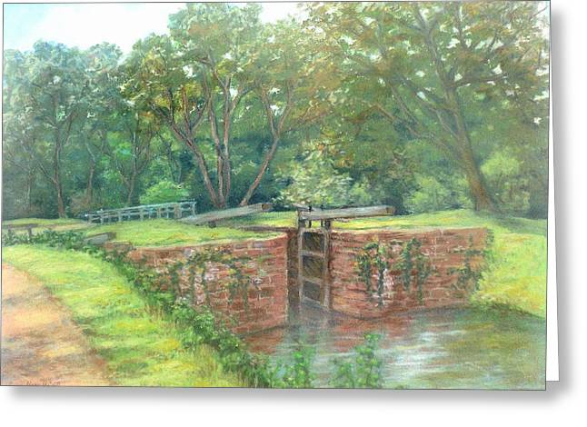 Park Scene Pastels Greeting Cards - Violettes Lock C and O Canal MD Greeting Card by Nancy Heindl