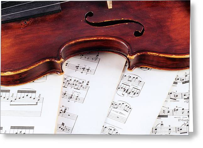 Playing Musical Instruments Greeting Cards - Violiin with Sheet Music Greeting Card by Chevy Fleet