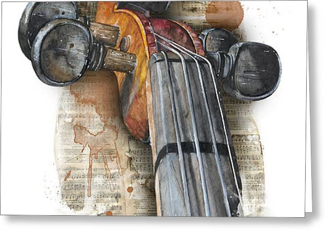 Violin 01 Elena Yakubovich Greeting Card by Elena Yakubovich