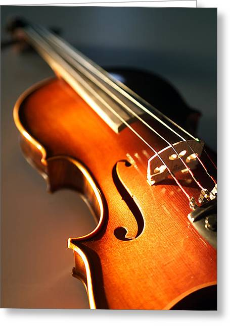 Stringed Instrument Greeting Cards - Violin V Greeting Card by Jon Neidert
