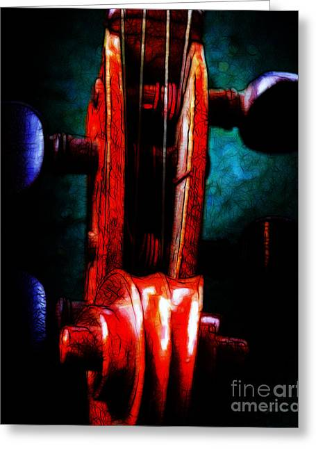 Wood Instruments Greeting Cards - Violin 2 - v2 Greeting Card by Wingsdomain Art and Photography