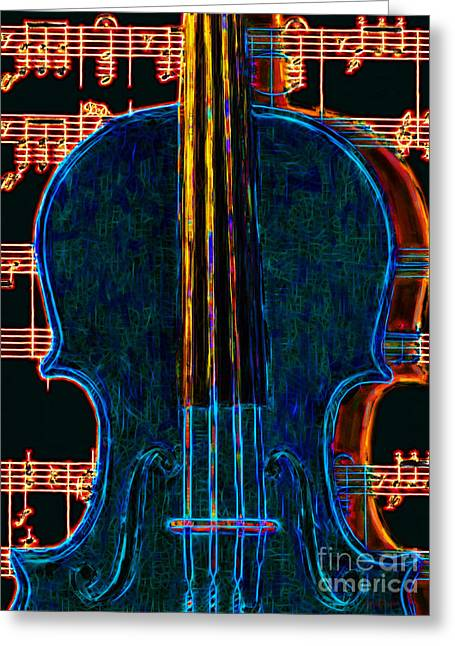 Wood Instruments Greeting Cards - Violin - 20130128 Greeting Card by Wingsdomain Art and Photography