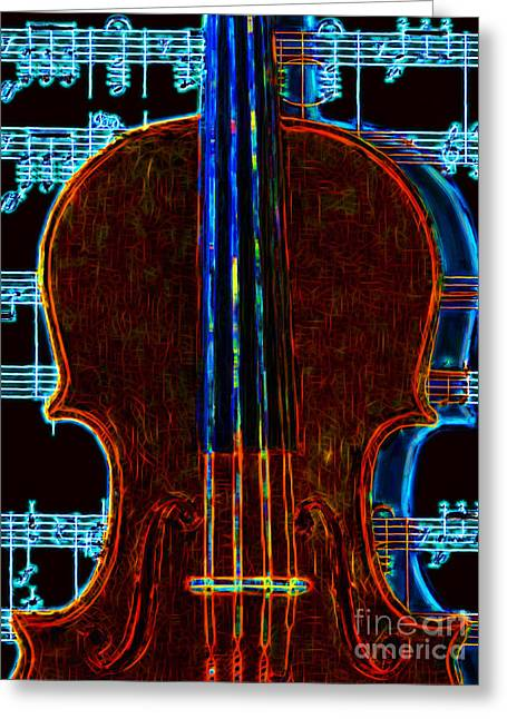 Wood Instruments Greeting Cards - Violin - 20130128v1 Greeting Card by Wingsdomain Art and Photography