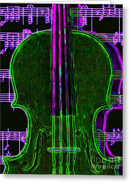 Wood Instruments Greeting Cards - Violin - 20130128v4 Greeting Card by Wingsdomain Art and Photography