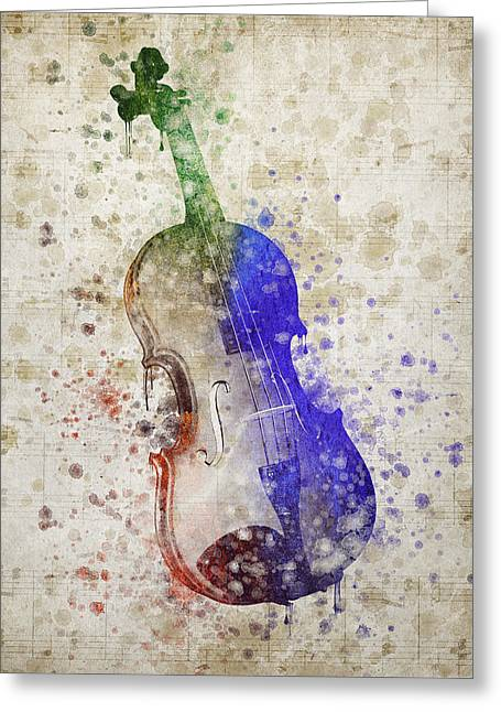 Stringed Instrument Greeting Cards - Violin Greeting Card by Aged Pixel