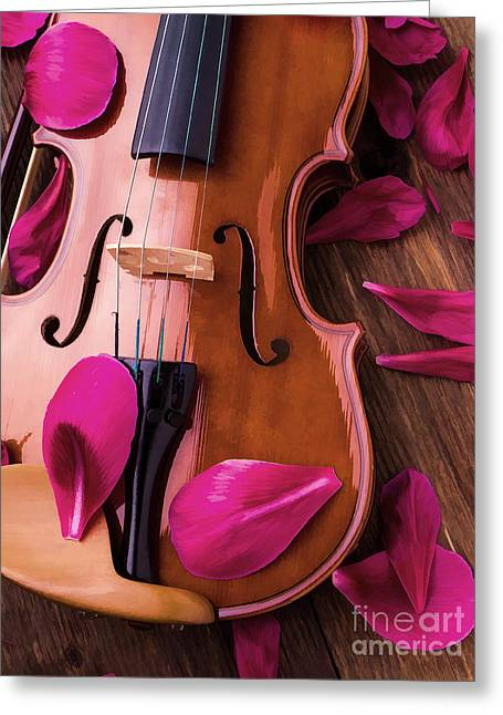 Fiddle Greeting Cards - Violin and Flower Petals Greeting Card by Edward Fielding