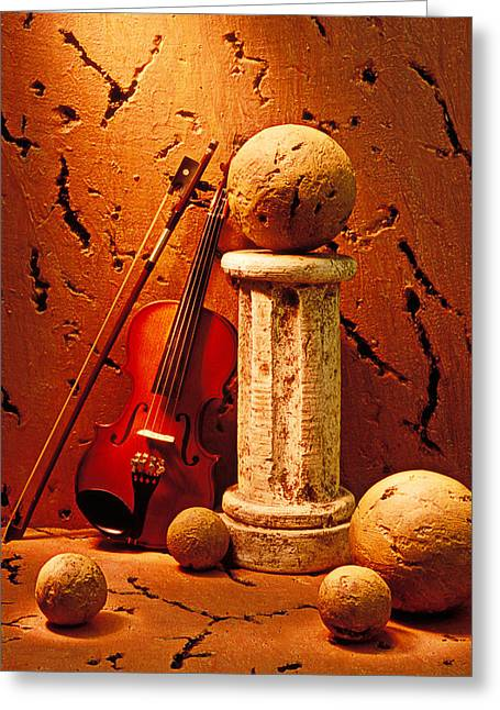 Violin Bows Violin Bows Greeting Cards - Violin and pedestal with stone balls  Greeting Card by Garry Gay
