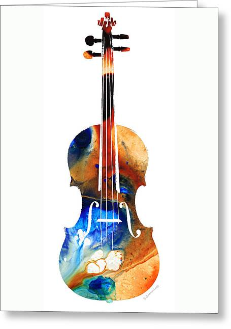 String Art Greeting Card featuring the painting Violin Art By Sharon Cummings by Sharon Cummings