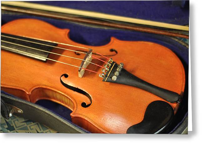 Violin Bows Violin Bows Greeting Cards - Violin at Rest Old Fiddle With Bow Greeting Card by Rebecca Brittain