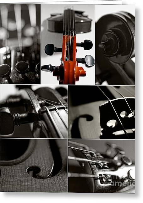 Macro Mixed Media Greeting Cards - Violin Collage Greeting Card by Aleksey Tugolukov