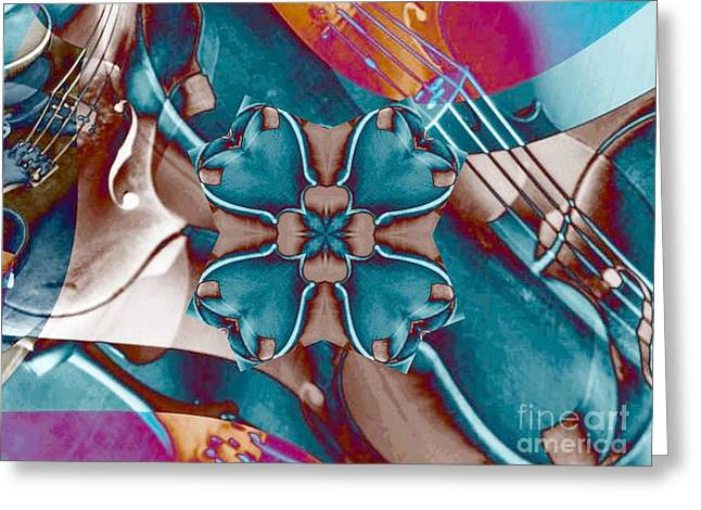 Turquoise Violin Greeting Cards - Violin Collage clover Greeting Card by Dana Hermanova
