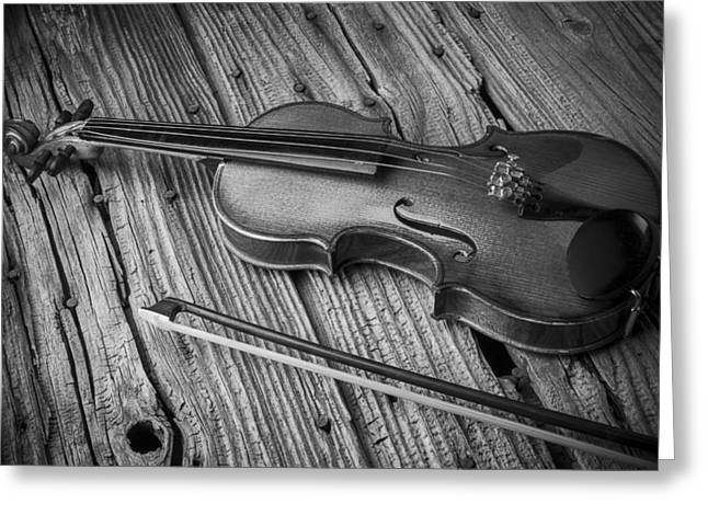 Rusty Nail Greeting Cards - Violin In Black and White Greeting Card by Garry Gay