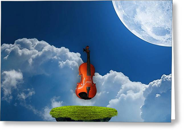 Musical Instruments Greeting Cards - Violin In Heaven Greeting Card by Marvin Blaine
