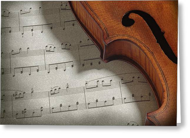 Art Decor Pyrography Greeting Cards - Violin Greeting Card by Krasimir Tolev