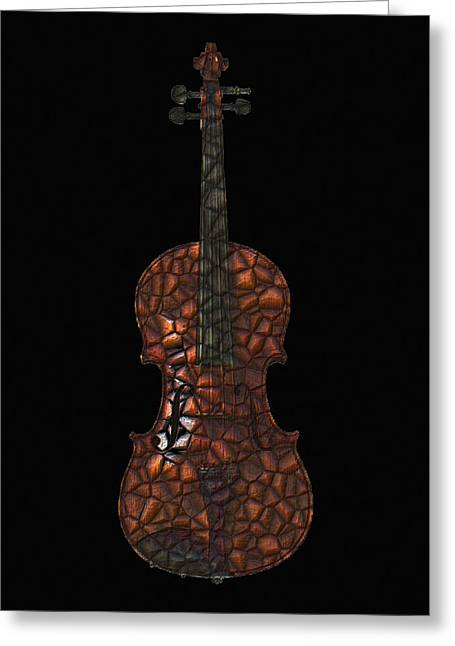 Violin Mosaic Greeting Card by Flo Karp