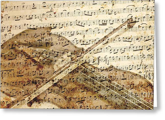Violin Musical Note Background Greeting Card by Gregory DUBUS