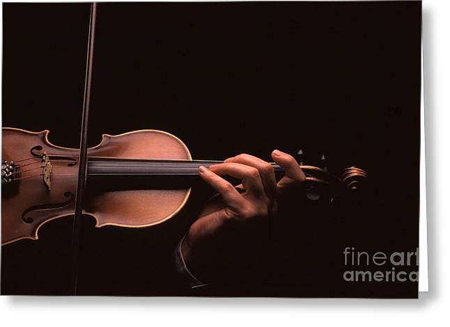 Playing Musical Instruments Greeting Cards - Violin Greeting Card by Novastock