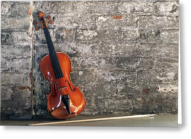 Stringed Instrument Greeting Cards - Violin on brick Horizontal Greeting Card by Jon Neidert