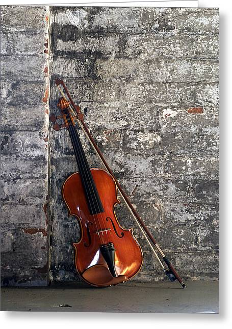Stringed Instrument Greeting Cards - Violin on Brick Greeting Card by Jon Neidert