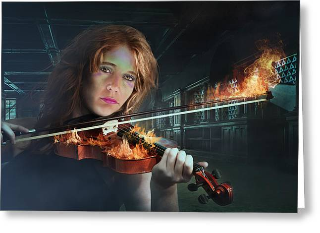 Player Greeting Cards - Violin on Fire Greeting Card by Ronel Broderick