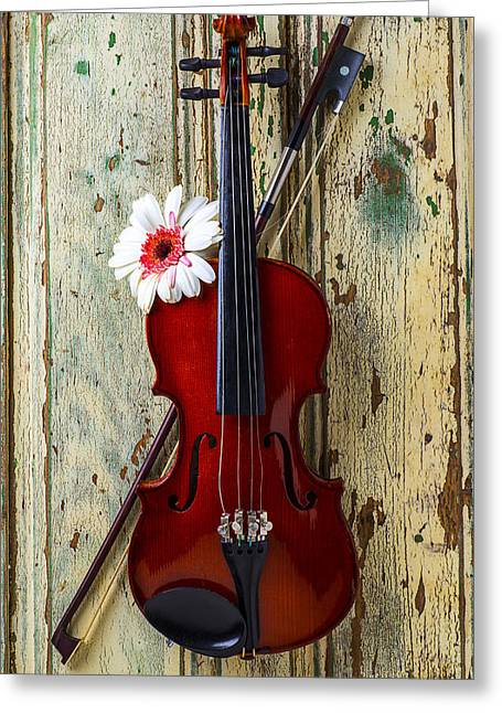 Violin On Old Door Greeting Card by Garry Gay