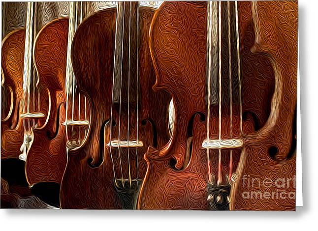 Violin Bows Violin Bows Greeting Cards - Violin Painting Greeting Card by Jon Neidert